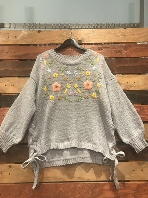 POL Grey Embroidered Sweater