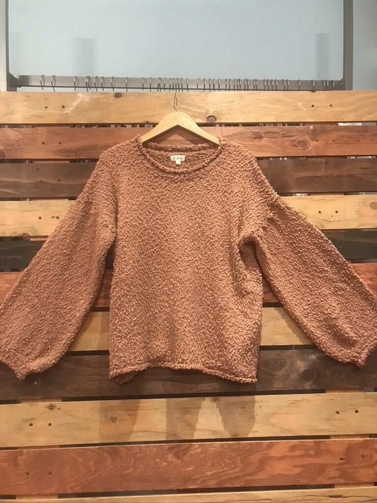 POL Dusty Rose Popcorn Sweater