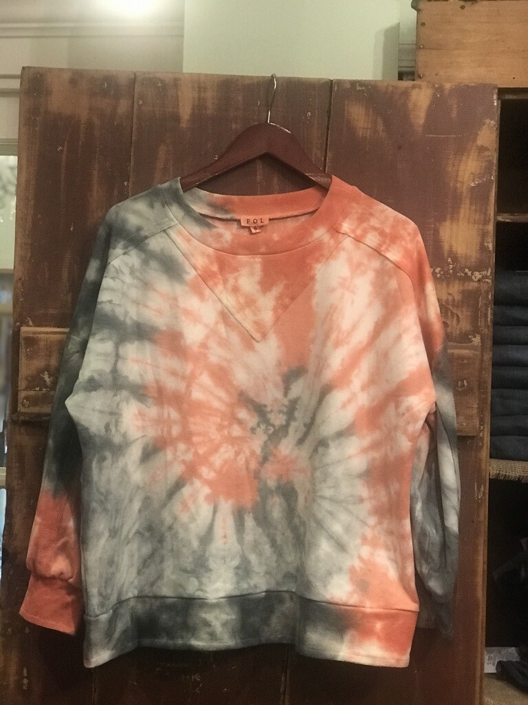 POL Grey/Peach Tie Dye Sweatshirt