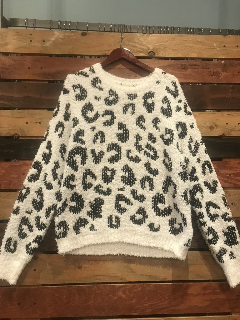 POL White Black Leopard Top