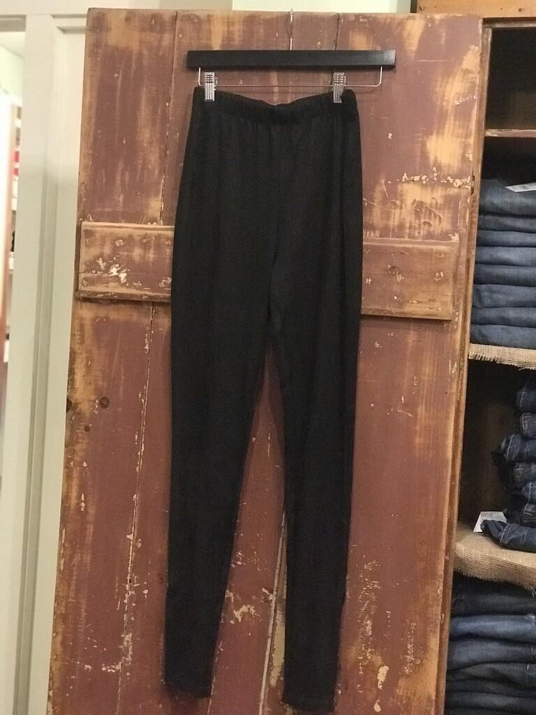 Suede Zippered Side Leggings/Black