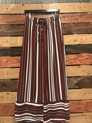 Wine Striped Wide Leg Pants