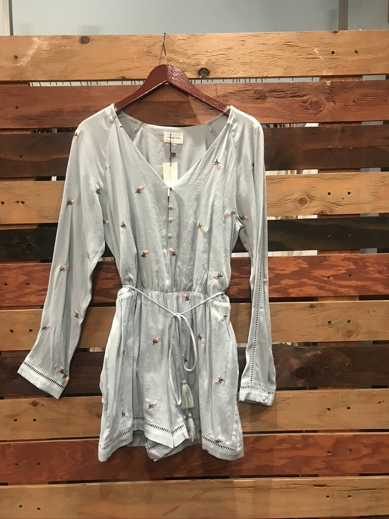 SL Light Blue Romper with Embroidered Flowers