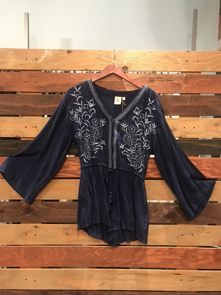 White Crow Embroidered Blue Floral Romper