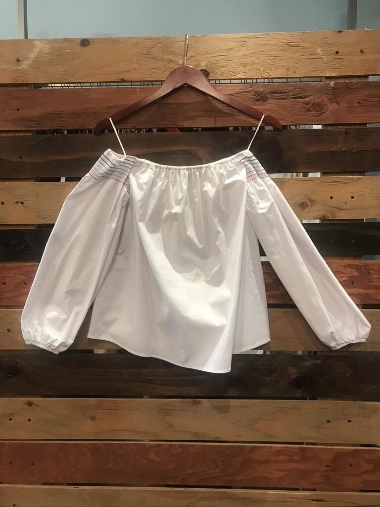 SL White Off Shoulder Long Sleeves w/ Color