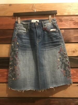 Driftwood Embroidered Demin Skirt