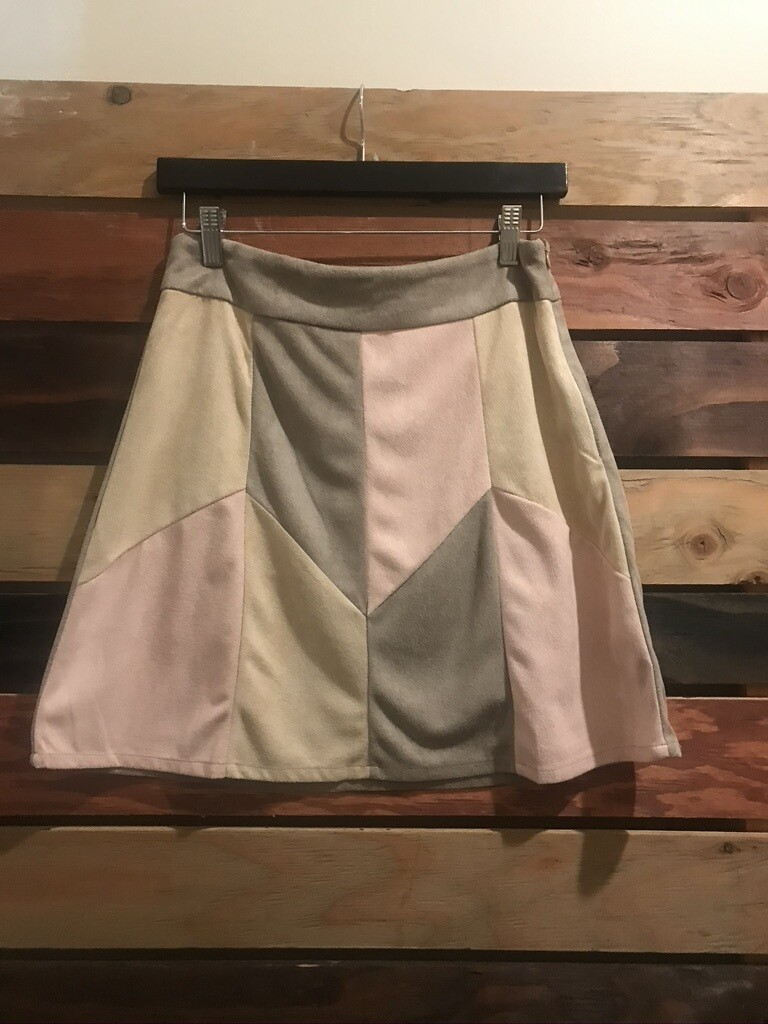 Faux Suede Multi Colored Skirt