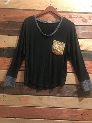 POL Black Shirt with Contrast Pocket