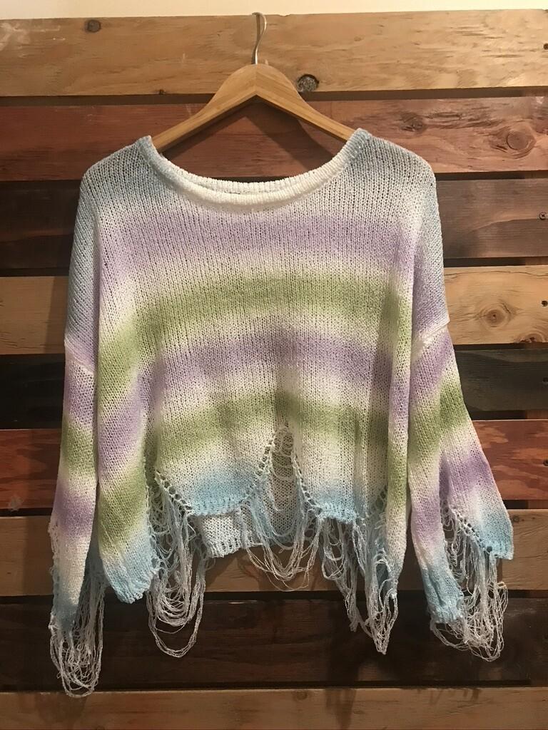 POL Lilac/Green Distressed Sweater