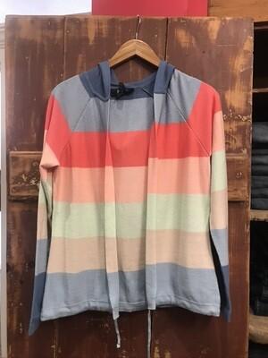 FDJ Rainbow Striped Hoodie Cardigan