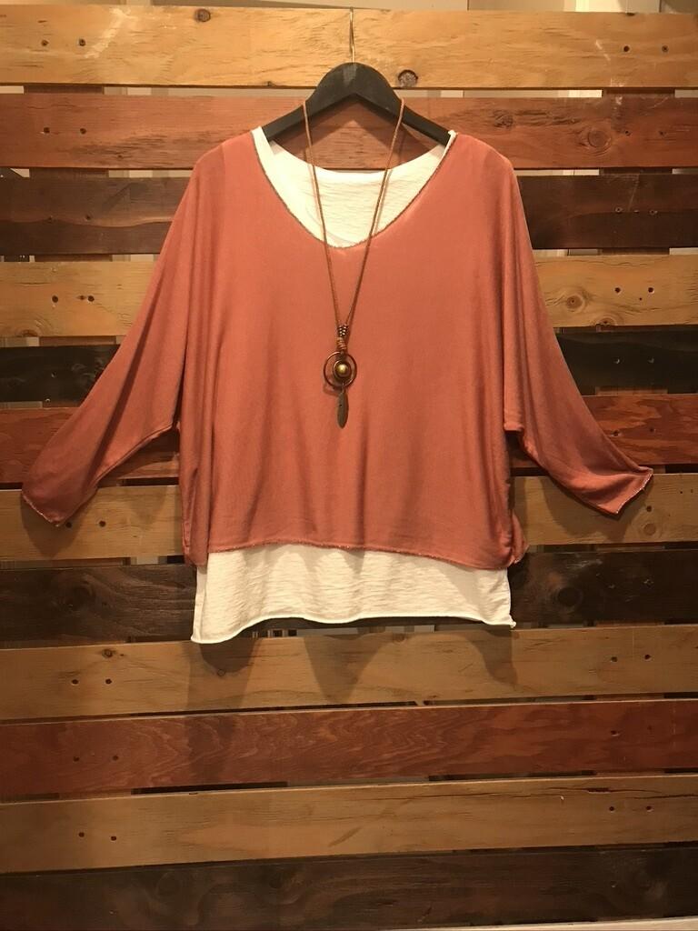 2 piece Clay Tunic w/Necklace OS
