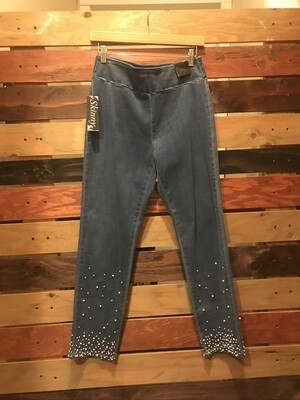 Ethyl Pull-on Ankle Pants with Pearls