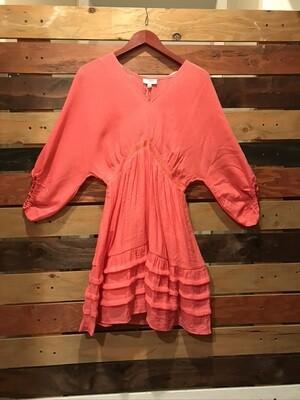 Coral V-Neck Dress w/ Ruffles on Hem