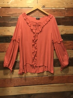 Red Clay Top w/ Front Ruffle and Tie