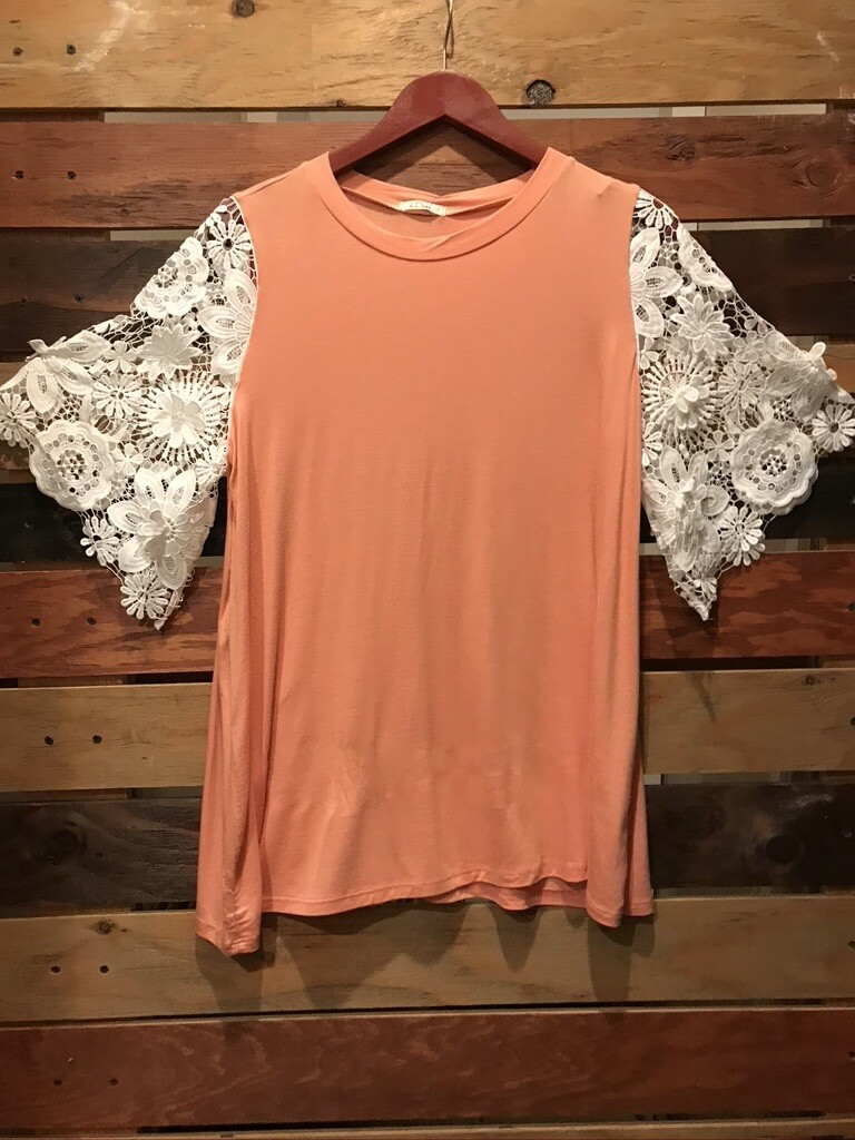 Peach shirt with Lace Sleeves