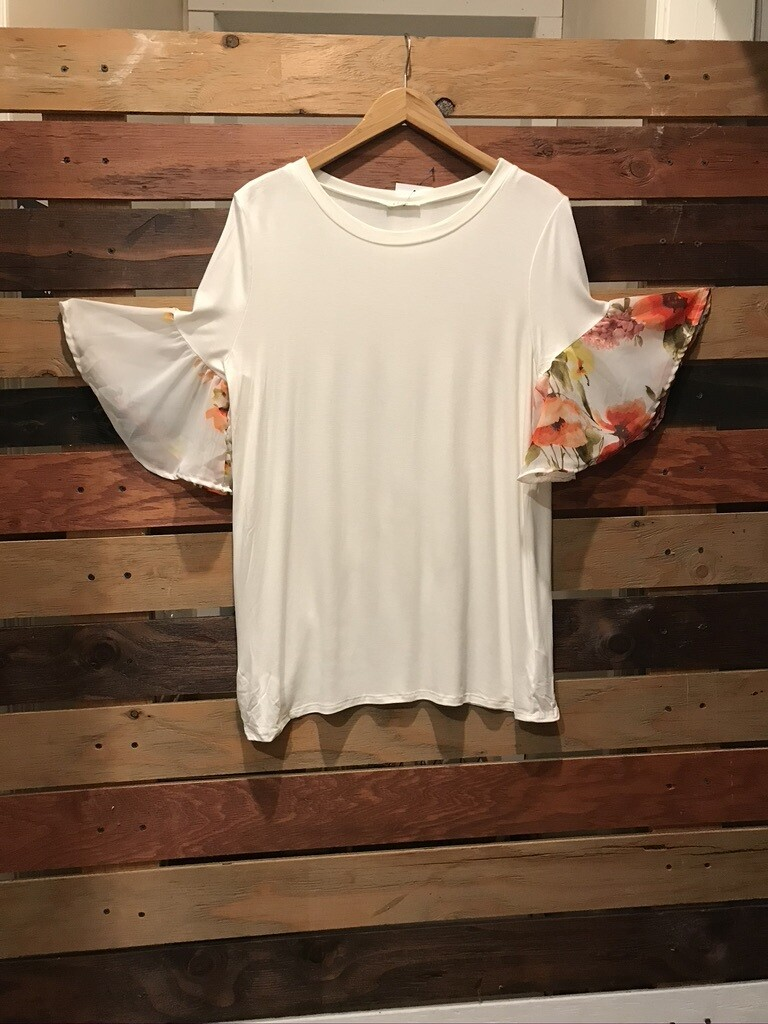 Ivory Round Neck Top w/Floral Ruffle Sleeves