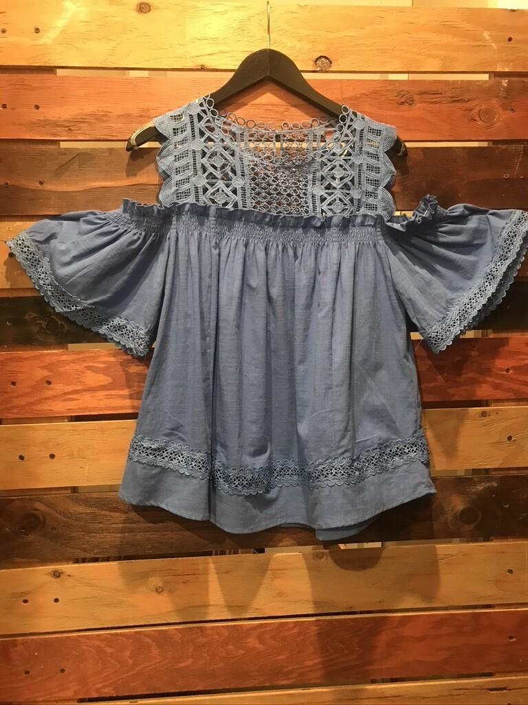 Cyan Blue Lace Top w/Cold Shoulder