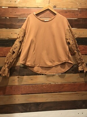 Brown top with Crochet Long sleeves