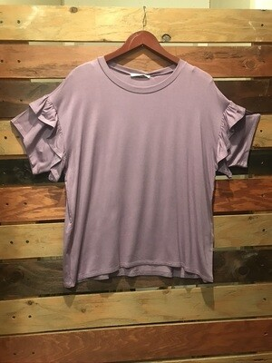 Purple top w/Ruffle sleeves