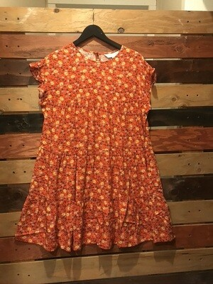 Apricot Floral Ruffle Tiered Dress