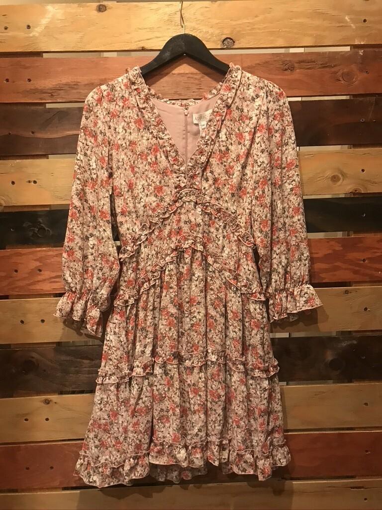 Apricot Ruffle Tiered Dress