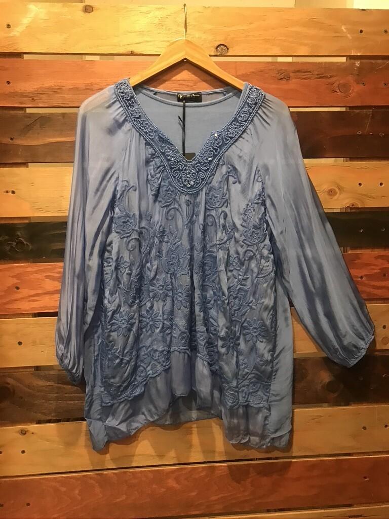 Bella Amore Blue Silk Blouse