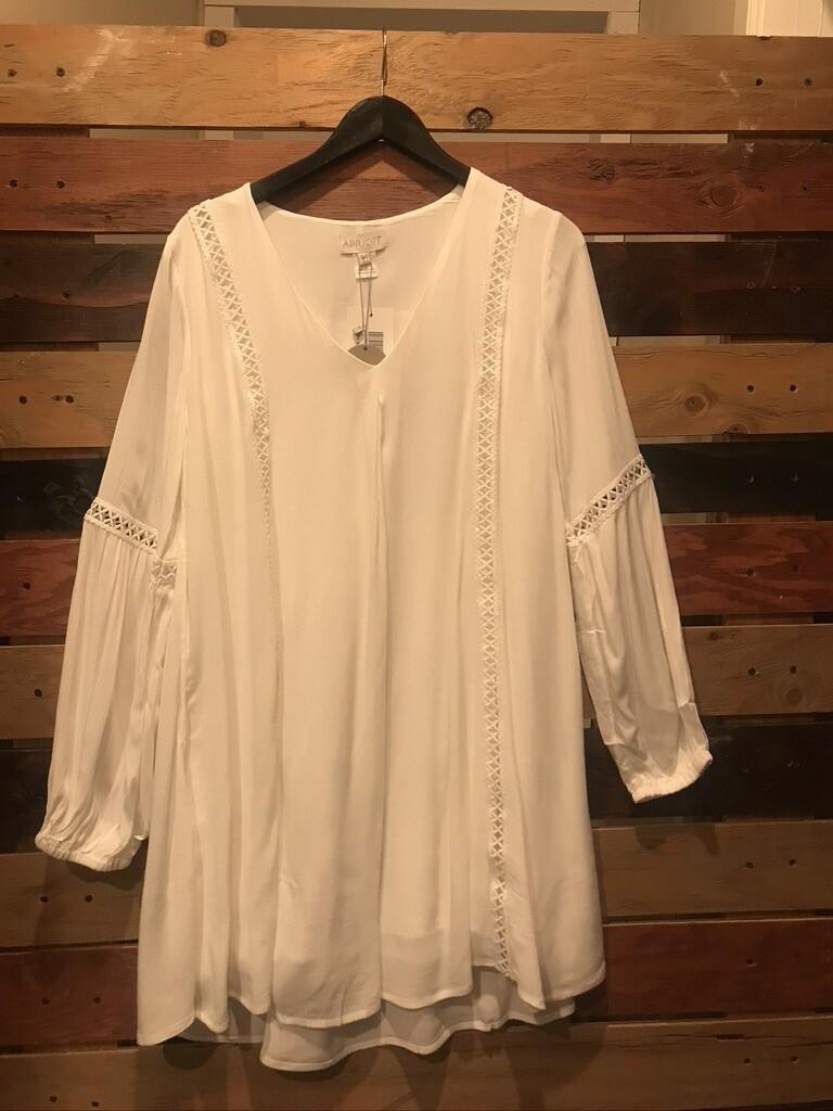 Apricot Lace Detail Boho Cream Dress
