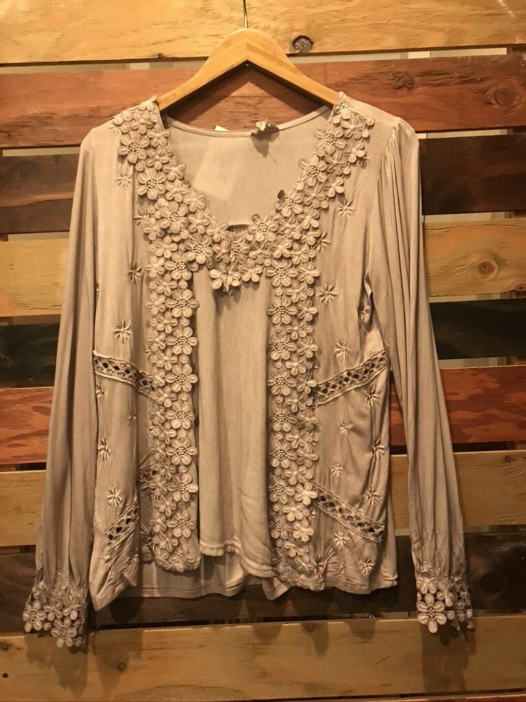 POL Taupe Flower Top
