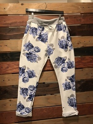 Blue Floral Jean- OS