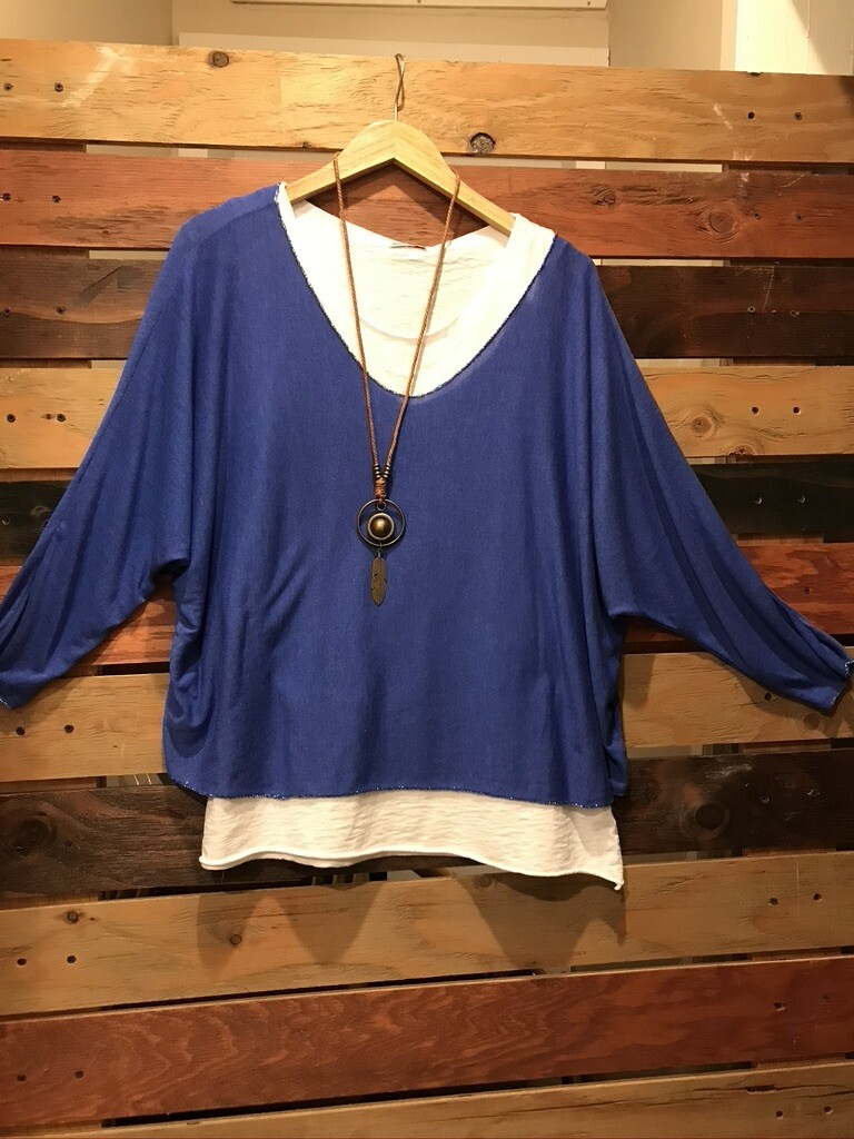 2 Piece Royal Blue Top W/Necklace -OS