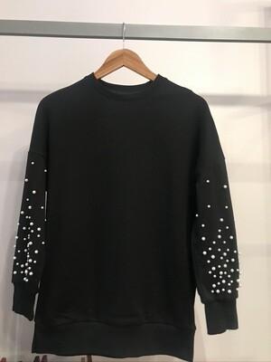 Black Sweatshirt with Pearls