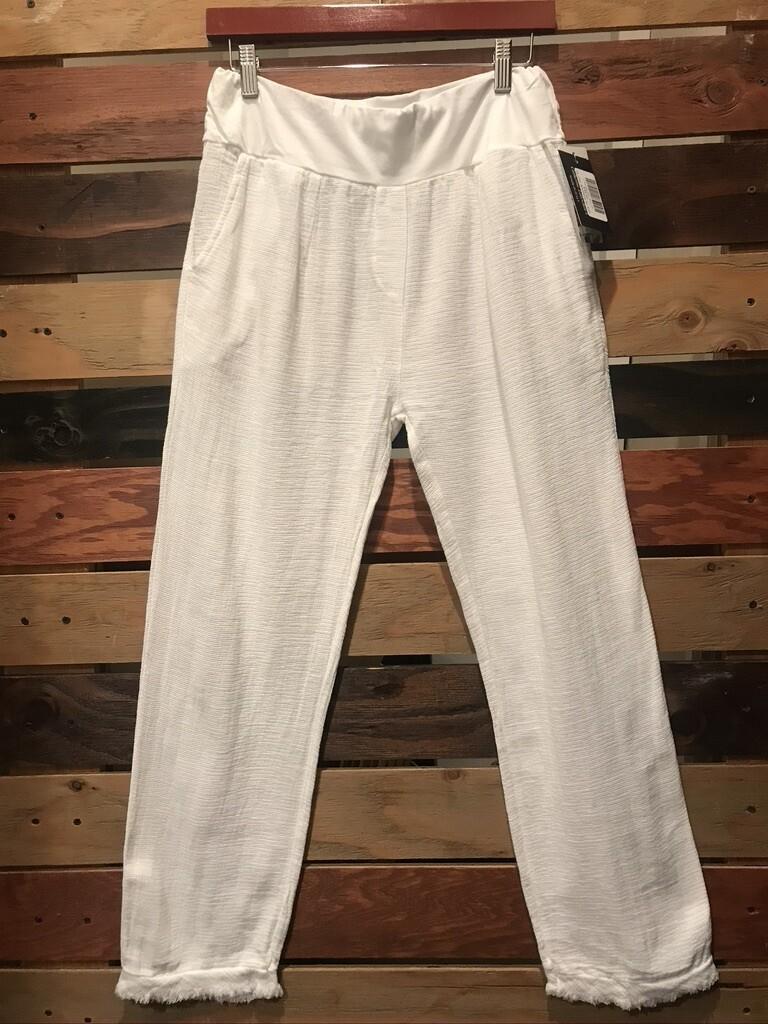 CL Raw Edge Pant- White- OS
