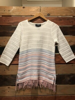 Soft Striped Fringe Sweater