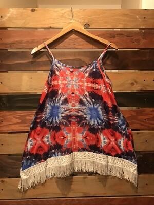 Tie Dye Print Cami w/ Fringe