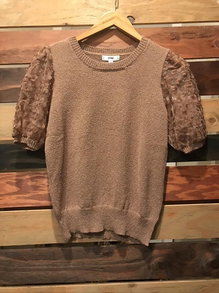 Blu Pepper Cocoa Sweater w/ Sheer Sleeves