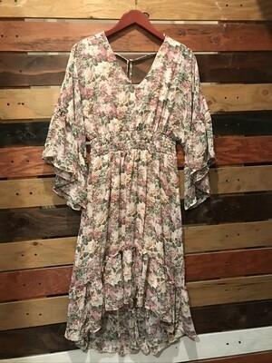 Gigio Floral V-neck Chiffon Dress