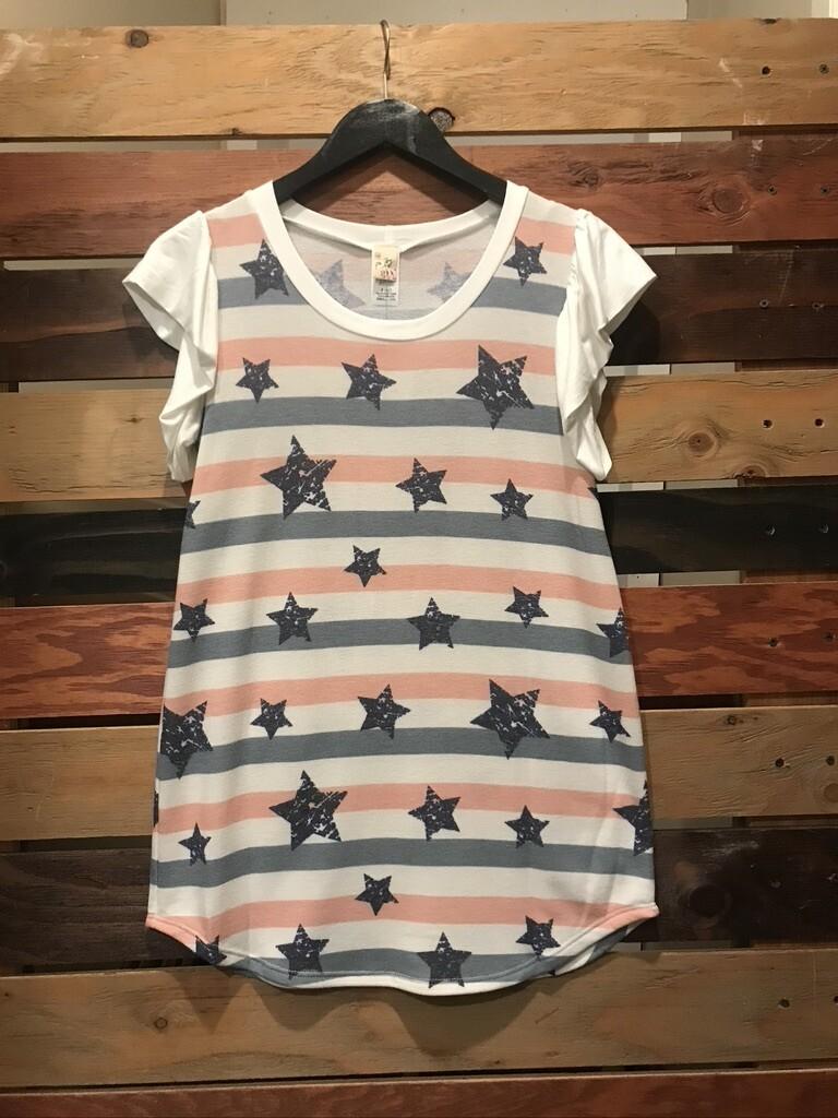Star Printed Ruffled Short Sleeve Top