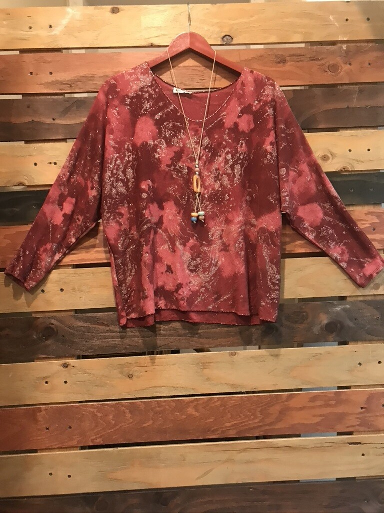 CLW Glitter Maroon Top -OS