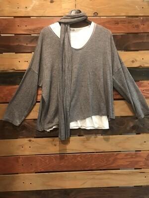 2-Piece Grey Tunic with Scarf