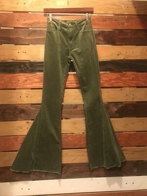 Olive Corduroy Flared Pants