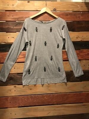Beaded Knit Top- Grey