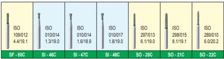 MANI DIA BURS (COARSE:125-150 μm) SI,SO,SR,TC,TF SERIES-PACK OF 5 BURS