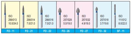 MANI DIA BURS (STANDARD :106-125 μm) - FO,SF, SI SR, SERIES- PACK OF 5 BURS