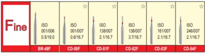 MANI DIA BURS (FINE :53-63 μm)- BR, CD, CE, CR, EX SERIES- PACK OF 5 BURS