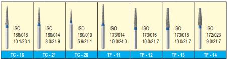 MANI DIA BURS (STANDARD :106-125 μm) - TC, TF, TR, WF, WR SERIES- PACK OF 5 BURS