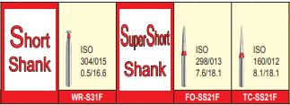 MANI DIA BURS (FINE :53-63 μm)- SHORT, SUPER SHORT SHANK- PACK OF 5 BURS