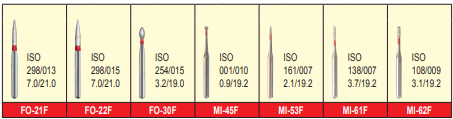 MANI DIA BURS (FINE :53-63 μm)-FO, MI, PRO, TC, TF, TR, WR SERIES- PACK OF 5 BURS