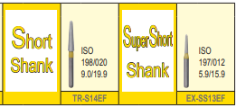 MANI DIA BURS (EXTRA FINE :20-30 μm)-SHORT, SUPER SHORT SHANK- PACK OF 5 BURS