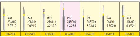 MANI DIA BURS (EXTRA FINE :20-30 μm)- FO, PRO, TC, TF, TR- PACK OF 5 BURS