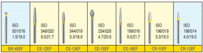 MANI DIA BURS (EXTRA FINE :20-30 μm)- BR, CE, CR, EX, RS SERIES- PACK OF 5 BURS